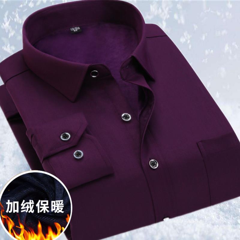 男士衬衫 加大码男士保暖衬衫纯棉加绒加厚纯紫色冬季新款商务加肥正装衬衣_推荐淘宝好看的男衬衫