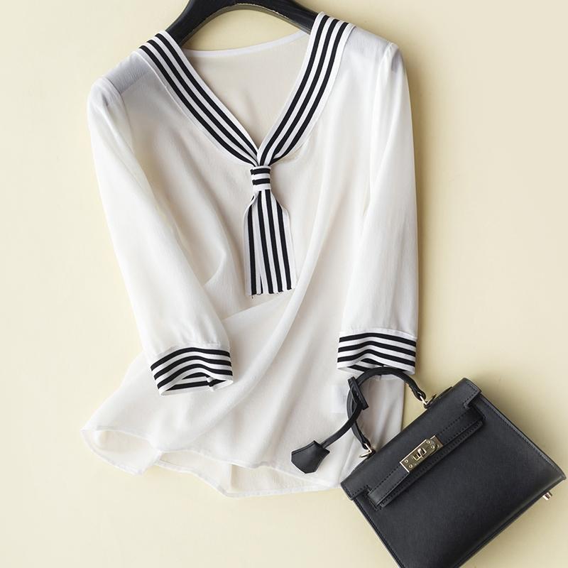 撞色衬衫 饱含青春的情愫 心机剪裁只为好效果 条纹飘带撞色真丝衬衫 女_推荐淘宝好看的女撞色衬衫