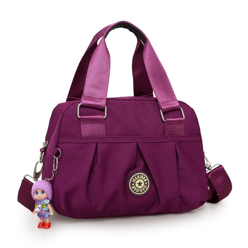 紫色手提包 布包女包手提包新款潮尼龙牛津布包休闲单肩斜跨包韩版斜挎包女包_推荐淘宝好看的紫色手提包