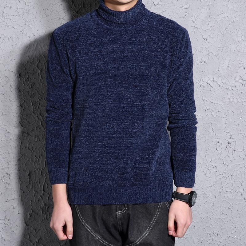 男士毛衣 冬季新款高领毛衣男韩版修身加绒加厚打底衫雪尼尔毛线衣针织衫潮_推荐淘宝好看的男士毛衣