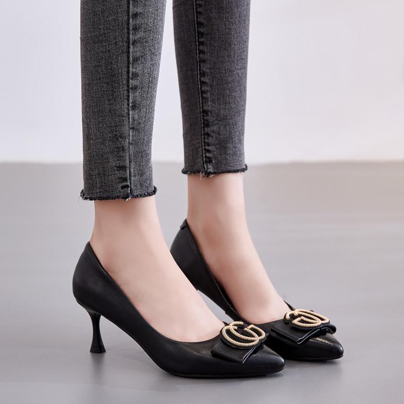 尖头鞋 2019秋季新款法式黑色真皮尖头高跟鞋女细跟单鞋百搭通勤工作鞋_推荐淘宝好看的女尖头鞋