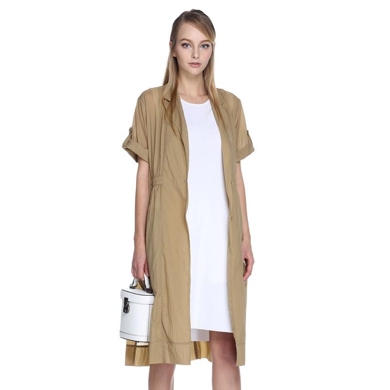 女装风衣外套 ochirly欧时力新女装纯色宽松西装领长款薄风衣外套1HH2050590_推荐淘宝好看的女装风衣外套