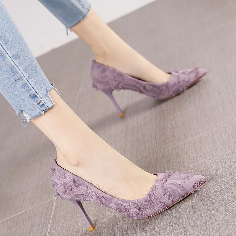 紫色高跟鞋 春秋新款韩版时尚尖头名媛风淑女紫色气质单鞋布面细跟高跟鞋女潮_推荐淘宝好看的紫色高跟鞋