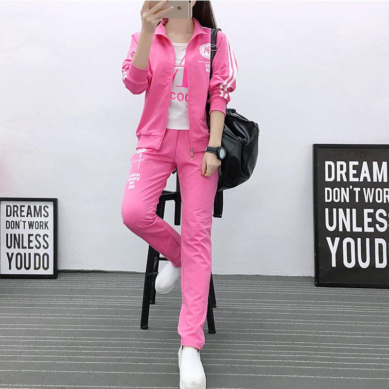 卫衣三件套 2018春新款韩版休闲大码运动套装女修身显瘦学生运动服卫衣三件套_推荐淘宝好看的女卫衣三件套