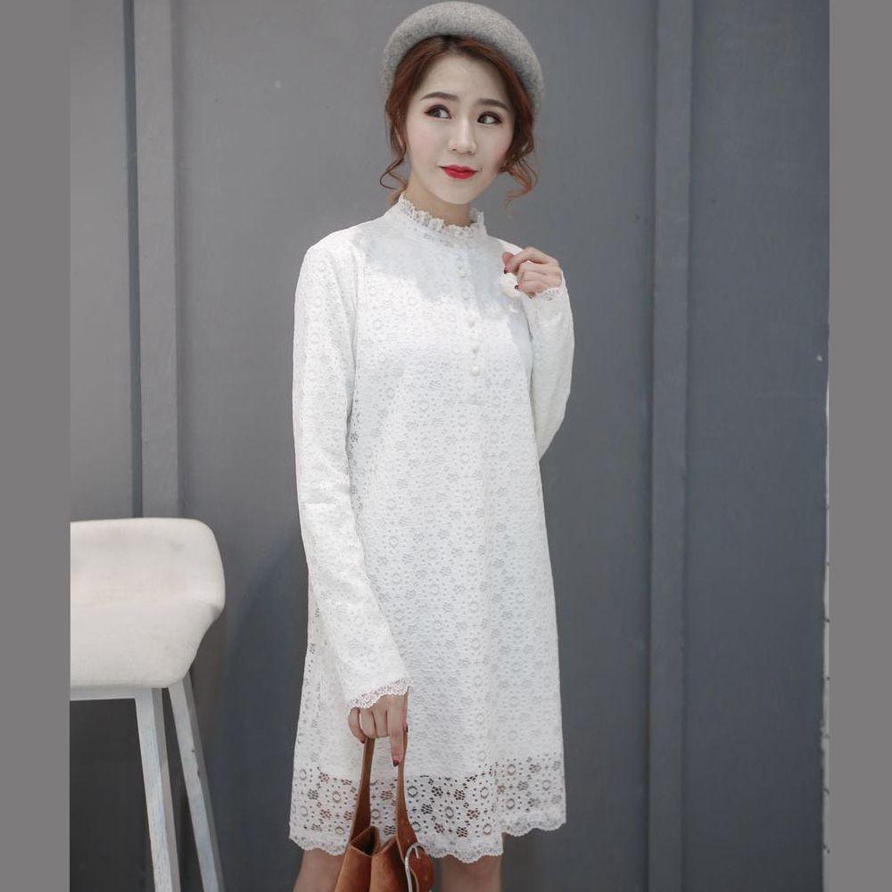 白色蕾丝连衣裙 2018秋装新款蕾丝连衣裙显瘦加厚FENG凤直筒加绒妈打底衫大码包邮_推荐淘宝好看的白色蕾丝连衣裙