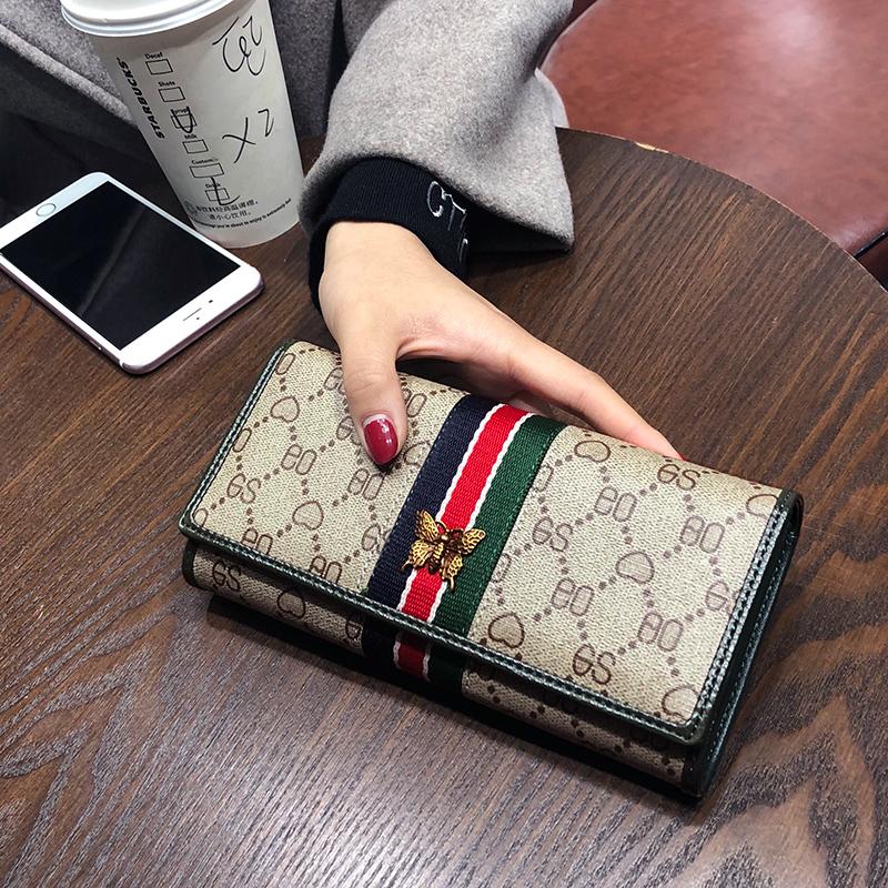 绿色钱包 欧美2018新款手拿女士钱包女长款 可放手机时尚搭扣两折钱夹皮夹_推荐淘宝好看的绿色钱包