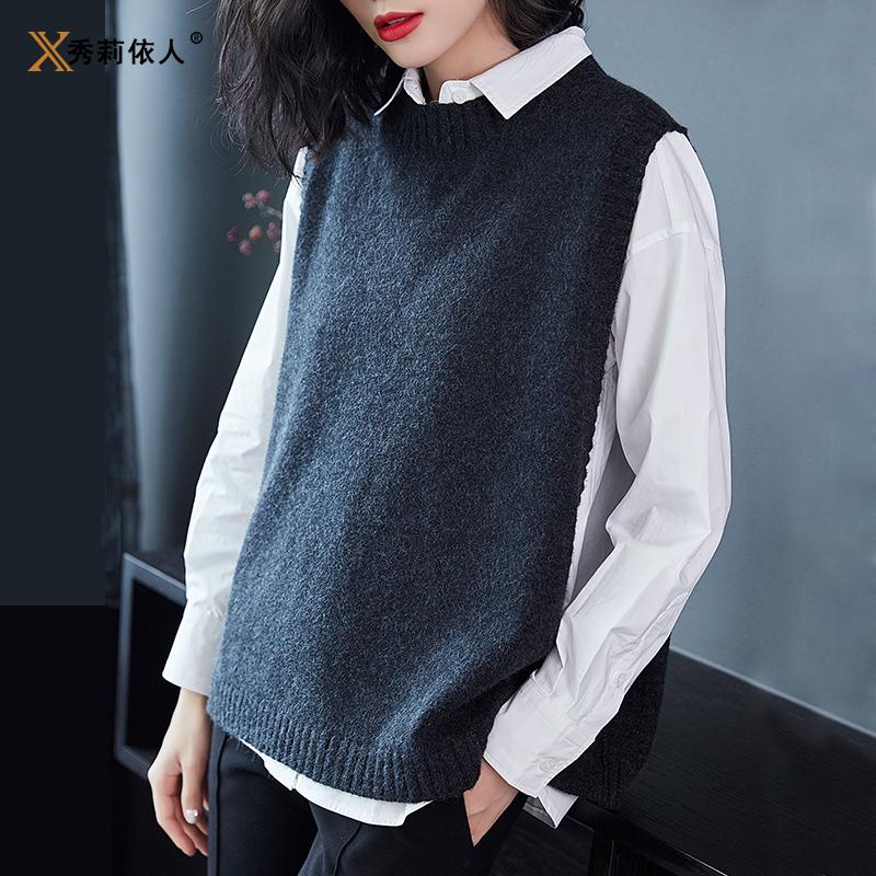 女装长袖衬衫 衬衫女长袖毛衣马甲新款2017韩版百搭针织马夹女背心针织衫两件套_推荐淘宝好看的女长袖衬衫