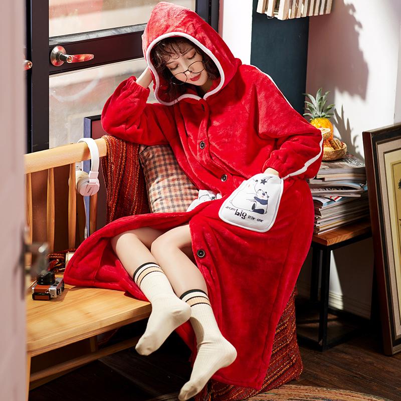 睡袍 秋冬珊瑚绒睡袍女甜美可爱连帽睡衣长袖加厚法兰绒冬季浴袍家居服_推荐淘宝好看的睡袍