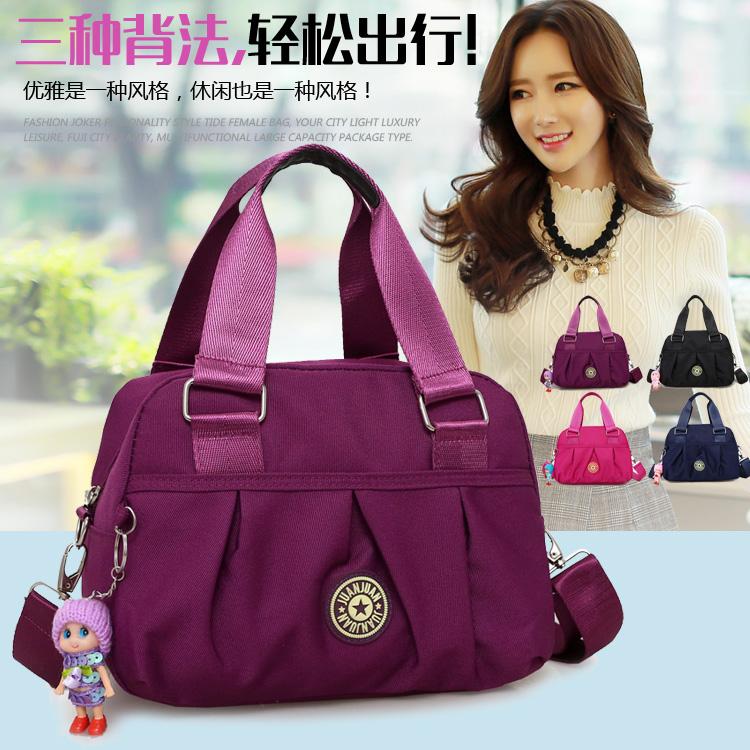 紫色单肩包 韩版女包手提包新款潮尼龙牛津布包休闲单肩斜跨女士小包包斜挎包_推荐淘宝好看的紫色单肩包