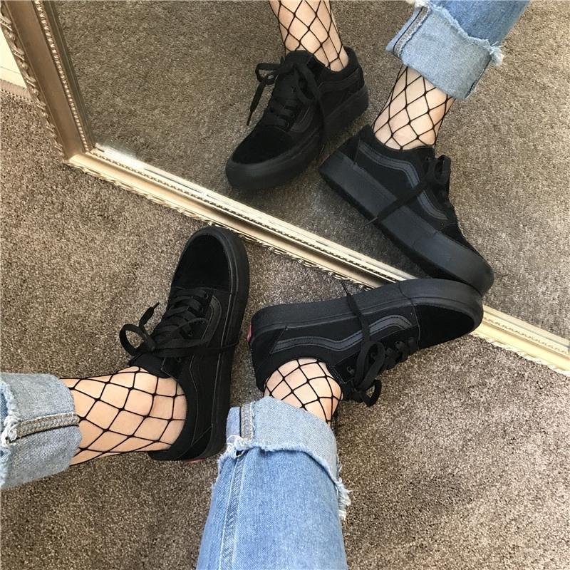 黑色帆布鞋 全黑色帆布鞋女ins超火的鞋子 山本风学生韩版ulzzang原宿板鞋潮_推荐淘宝好看的黑色帆布鞋
