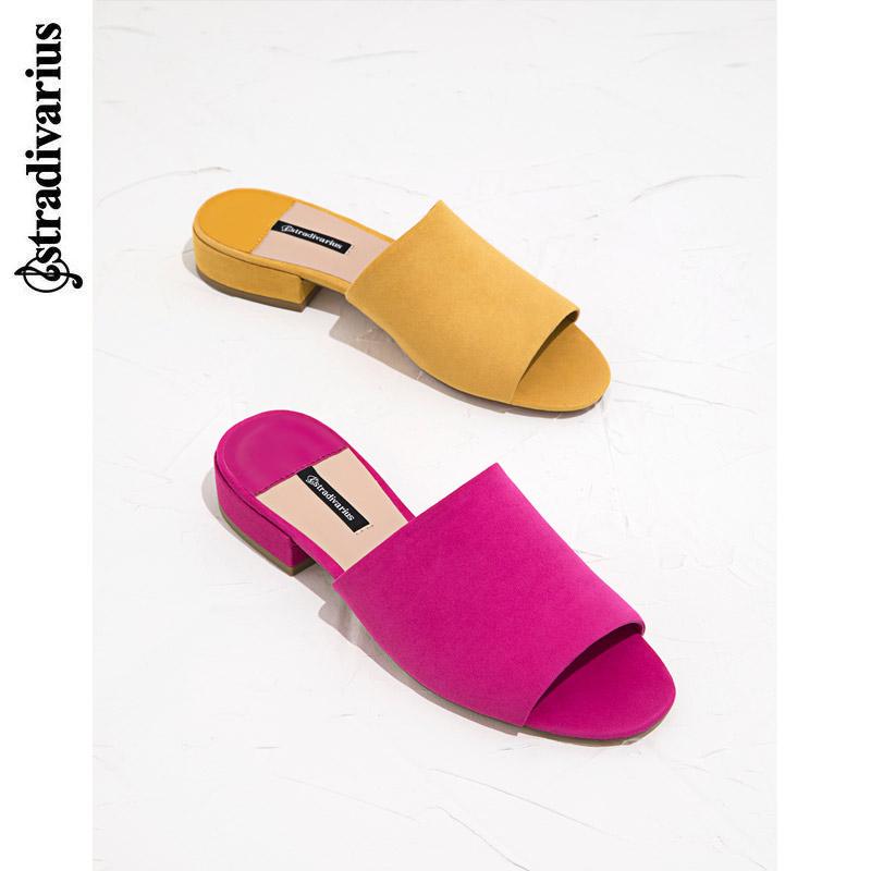 紫色鱼嘴鞋 Stradivarius 紫色露趾平底凉拖鞋穆勒鞋时尚一字拖 16881341060_推荐淘宝好看的紫色鱼嘴鞋