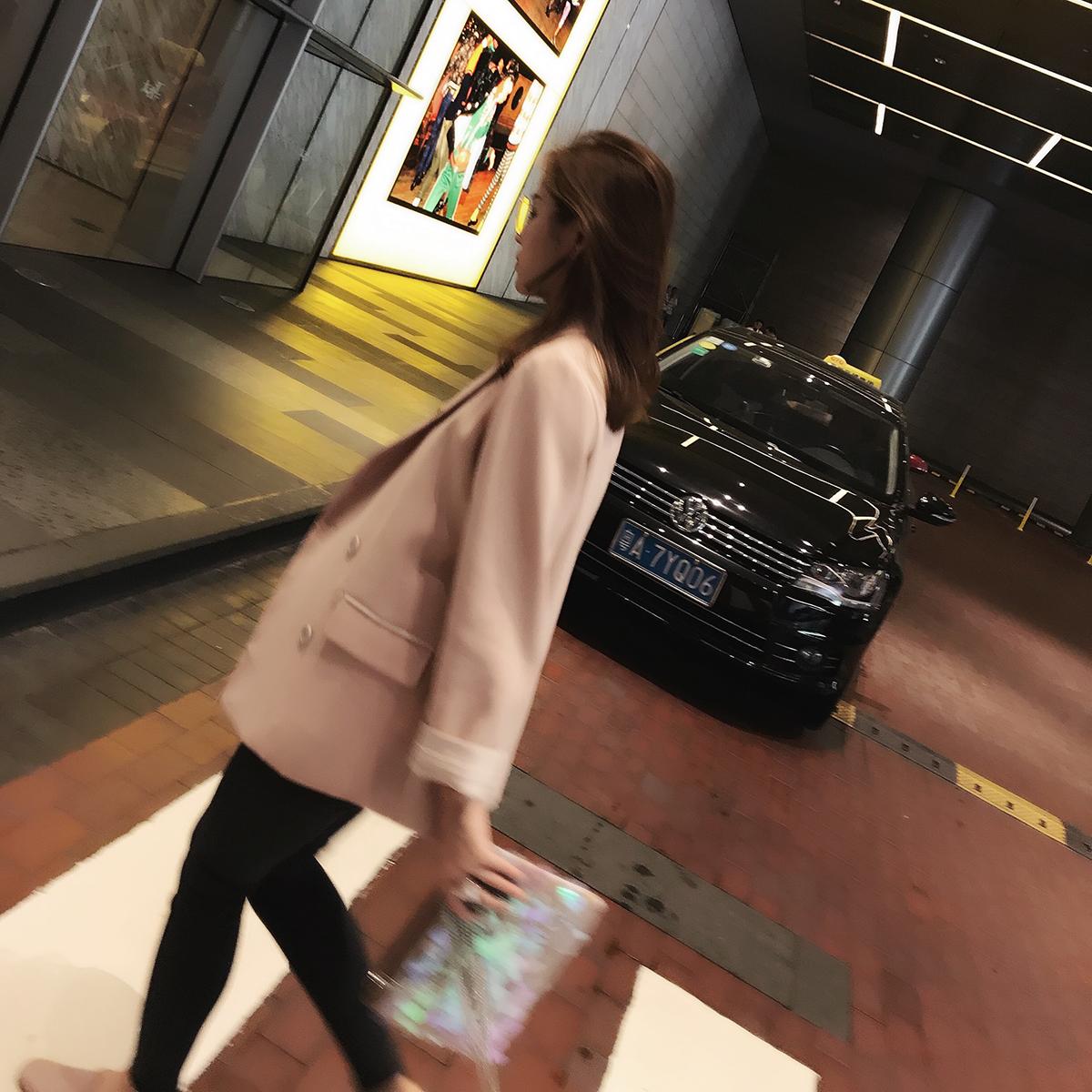 粉红色小西装 柒柒家 2018春季新款休闲西服韩版长袖宽松显瘦时尚小西装外套潮_推荐淘宝好看的粉红色小西装