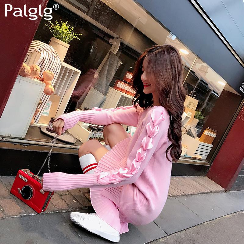 红色连衣裙 2018秋装新款时尚气质韩版女装裙子修身粉色针织衫长袖毛衣连衣裙_推荐淘宝好看的红色连衣裙