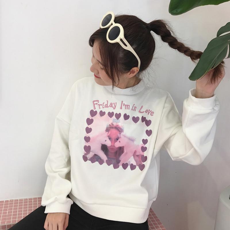 紫色卫衣 2018春季女装新款软妹卡通贴图绣花字母连帽套头加绒卫衣外套上衣_推荐淘宝好看的紫色卫衣
