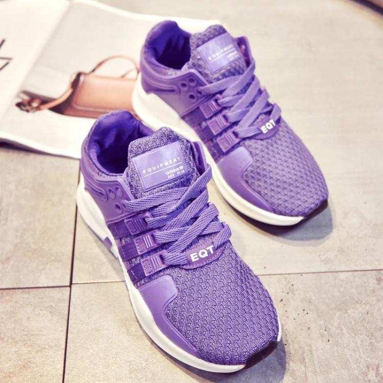 紫色运动鞋 厚底休闲女鞋子2017春韩版平底紫色运动鞋百搭系带学生网鞋旅游女_推荐淘宝好看的紫色运动鞋