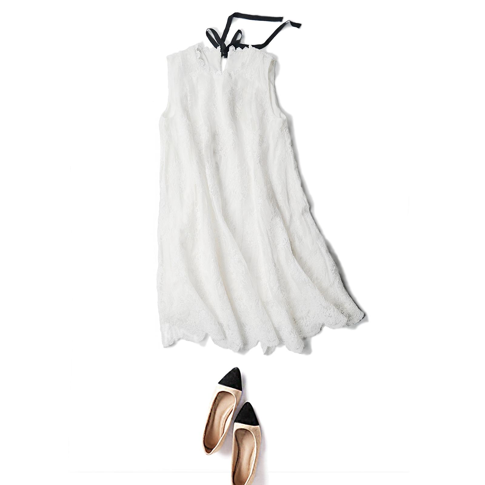 品牌蕾丝连衣裙 欧洲站2018夏装新款白色刺绣休闲裙领口系扣蕾丝镂空无袖连衣裙女_推荐淘宝好看的蕾丝连衣裙