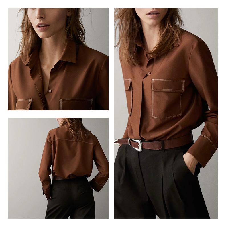 衬衫 西班牙 MD女装 明线设计丝质棉质长袖衬衫 M家衬衣 05140579745_推荐淘宝好看的女衬衫