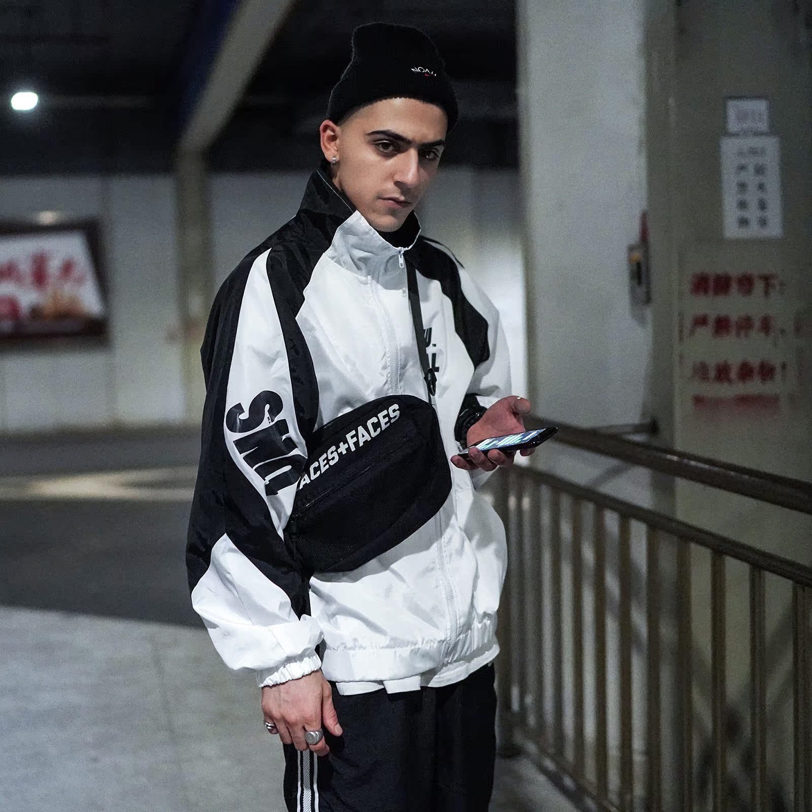 男士风衣外套 ins超火的运动外套男hiphop风衣撞色国潮嘻哈串标潮牌情侣冲锋衣_推荐淘宝好看的男风衣外套