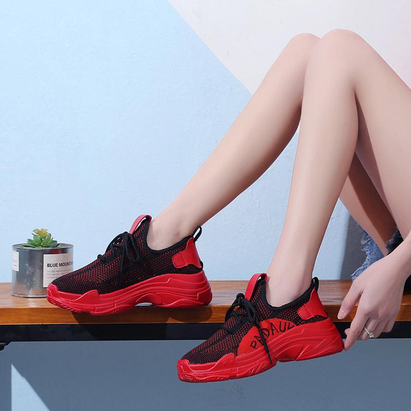 红色运动鞋 夏季镂空红色运动鞋女2018新款原宿韩版透气网面休闲厚底老爹红鞋_推荐淘宝好看的红色运动鞋