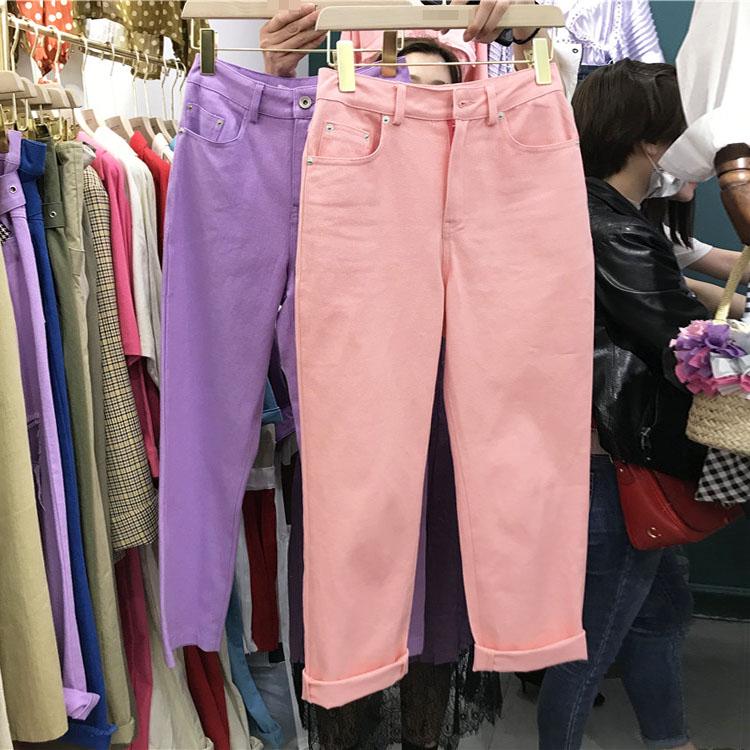 紫色牛仔裤 韩国ulzzang春装2018新款女亮色牛仔裤洗水修身粉色女哈伦长裤潮_推荐淘宝好看的紫色牛仔裤