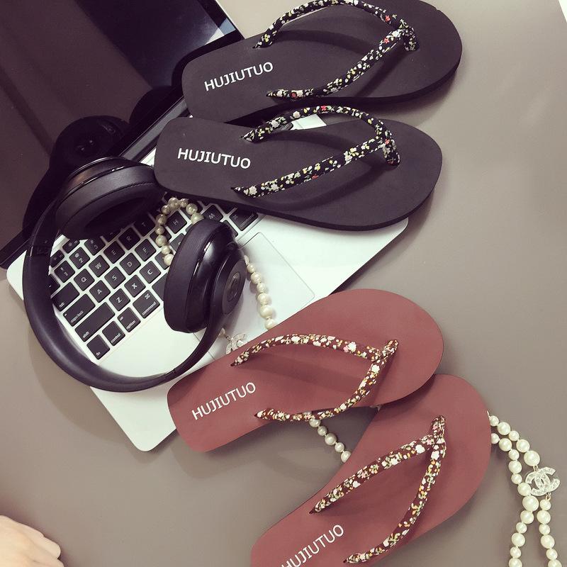 拖鞋 韩版人字拖鞋夏女士坡跟厚底沙滩鞋平底夹脚凉拖鞋平跟时尚外穿潮_推荐淘宝好看的女拖鞋