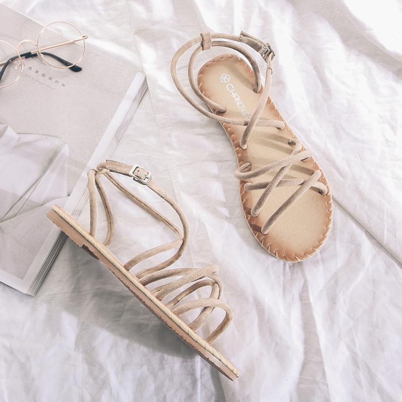 黑色罗马鞋 交叉带凉鞋女夏平底平跟一字带沙滩女凉鞋一字扣学生罗马凉鞋黑色_推荐淘宝好看的黑色罗马鞋