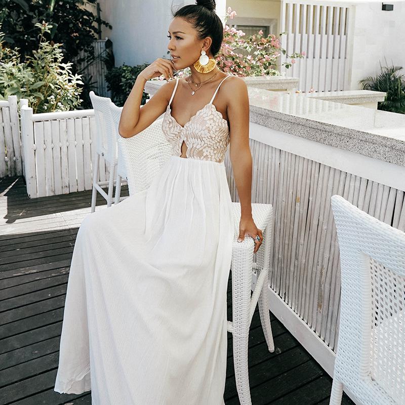 白色吊带连衣裙 OceanMystery海边度假沙滩裙波西米亚白色露背蕾丝吊带连衣裙长裙_推荐淘宝好看的白色吊带连衣裙