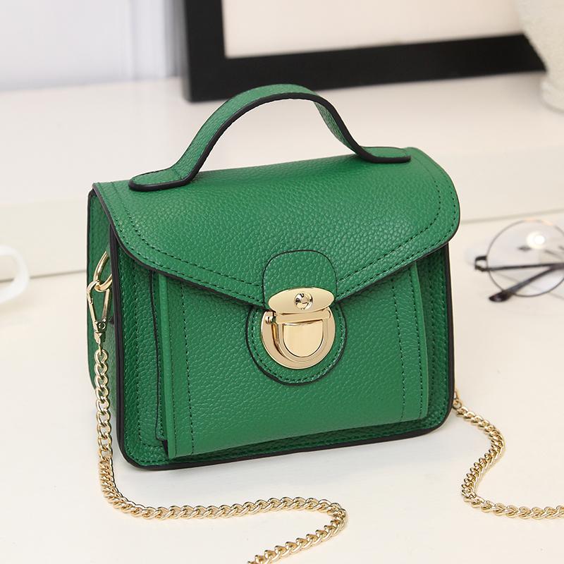 绿色链条包 包包女2018新款链条小方包休闲时尚锁扣单肩手提包斜跨小包女_推荐淘宝好看的绿色链条包