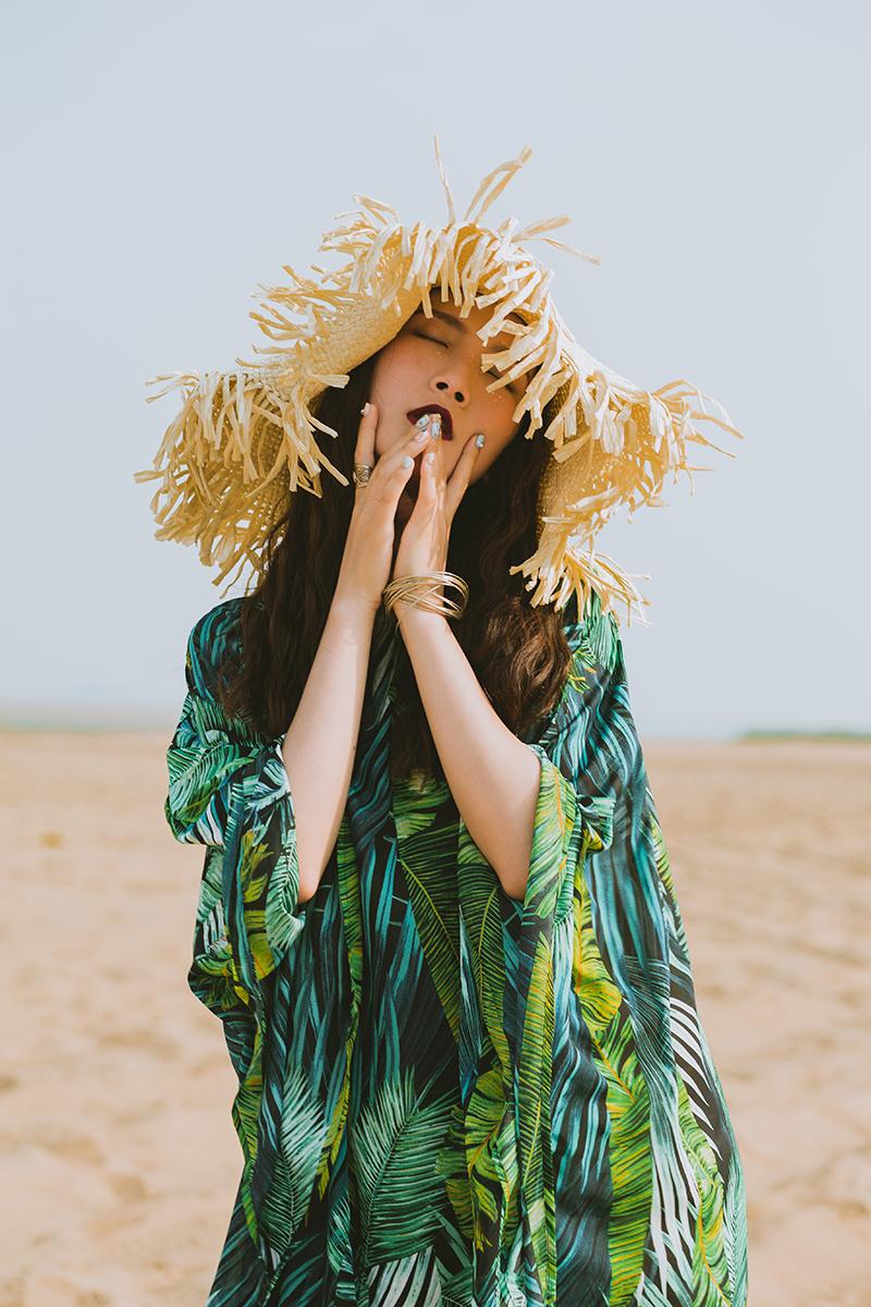 宽松大码连衣裙 森绿旅行文艺复古超长海边连衣裙宽松大码长袍子拍照渡假沙滩裙_推荐淘宝好看的宽松大码连衣裙