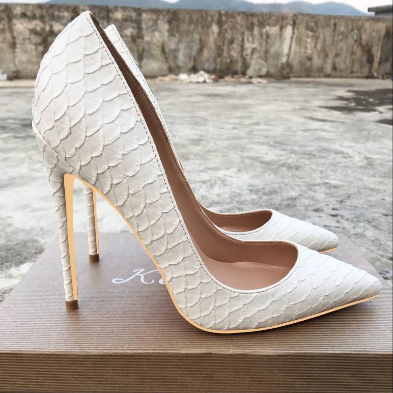 欧美款尖头鞋 欧美新款12cm白色蛇皮纹高跟鞋女细跟春秋单鞋10cm尖头女鞋小码_推荐淘宝好看的欧美尖头鞋