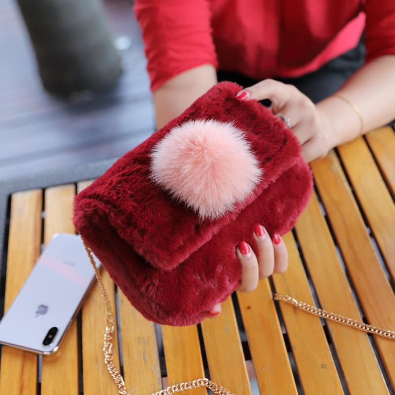 链条包 毛毛包包女2018新款韩版潮百搭可爱时尚包斜挎链条小包毛球毛绒包_推荐淘宝好看的女链条包