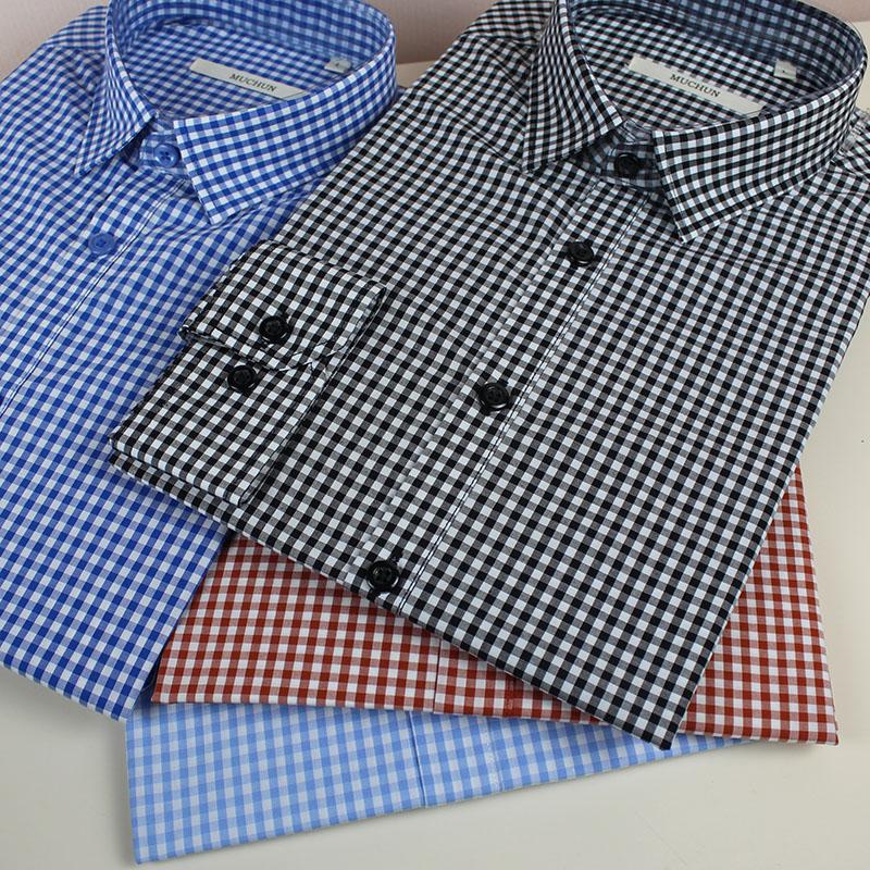 男士格子衬衫 小格子衬衫男长袖红色蓝色黑白衬衣男生纯棉全男士装细休闲清新款_推荐淘宝好看的男格子衬衫