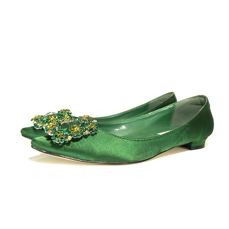 绿色平底鞋 蓝色大海的传说同款绿色水钻绸缎羊皮17平底鞋方扣单鞋尖头女鞋子_推荐淘宝好看的绿色平底鞋