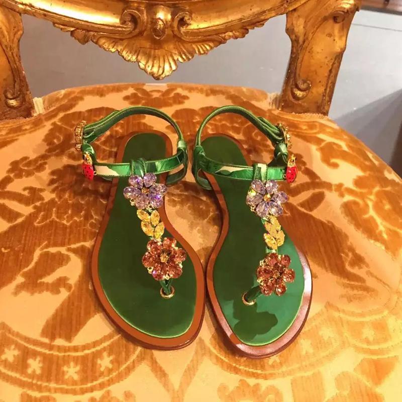 绿色凉鞋 D家18新款绿色花朵水钻宝石夹趾平底凉鞋波西米亚沙滩凉鞋真皮_推荐淘宝好看的绿色凉鞋