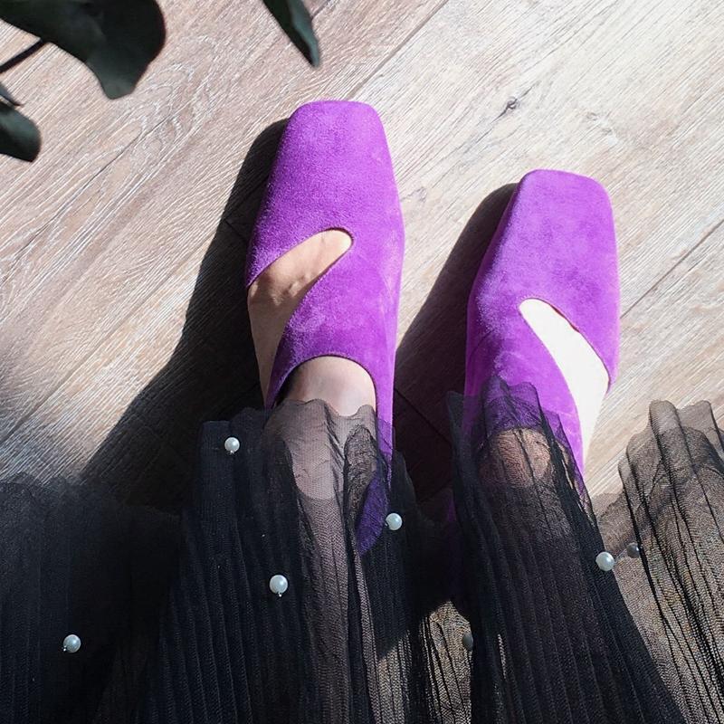 紫色单鞋 韩版方头磨砂皮镂空性感搭扣紫色扁跟高跟单鞋女宴会走秀款设计师_推荐淘宝好看的紫色单鞋