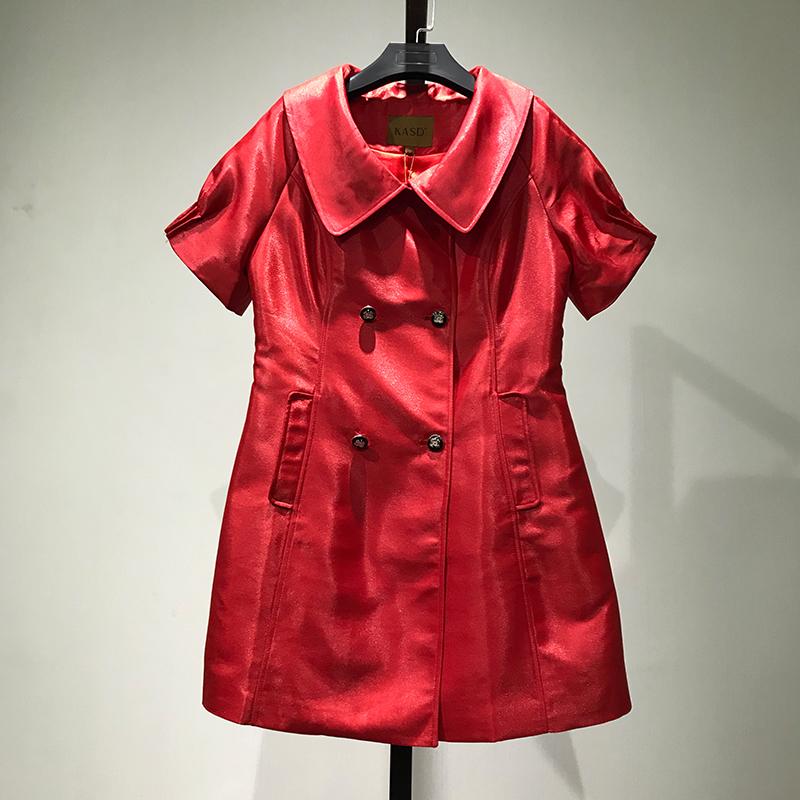 红色风衣 【KA】折扣品牌女装断码特价正品短袖纯色风衣 4月15日晚8点上新_推荐淘宝好看的红色风衣
