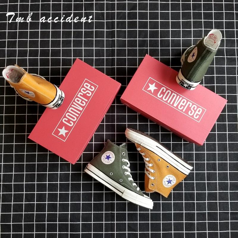 绿色帆布鞋 Converse匡威1970s 橙色 军绿色高帮帆布鞋三星标159622C 159771C_推荐淘宝好看的绿色帆布鞋
