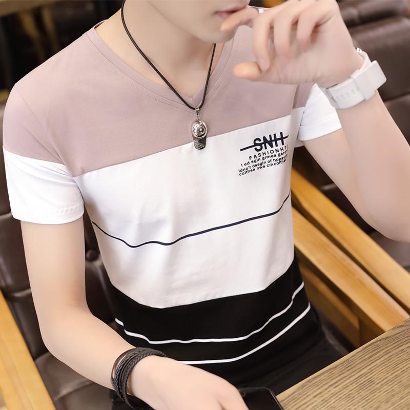 男士t恤 夏季韩版v领小衫男士短袖t恤个性纯棉体恤学生潮流半袖丅桖上衣服_推荐淘宝好看的男t恤