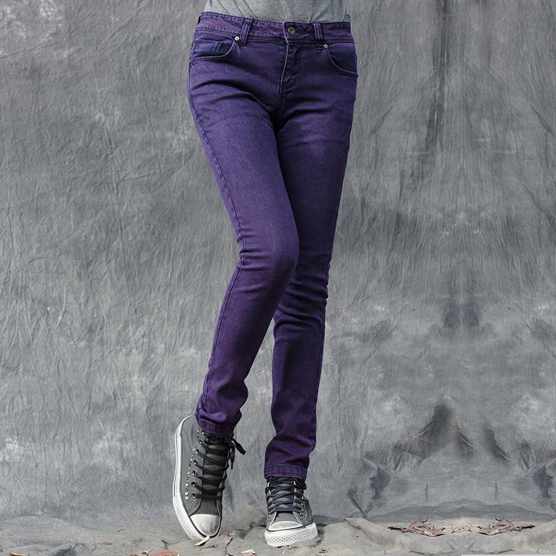 紫色牛仔裤 sdeer冬季女装迷离视觉的简约修身牛仔裤S15480837_推荐淘宝好看的紫色牛仔裤
