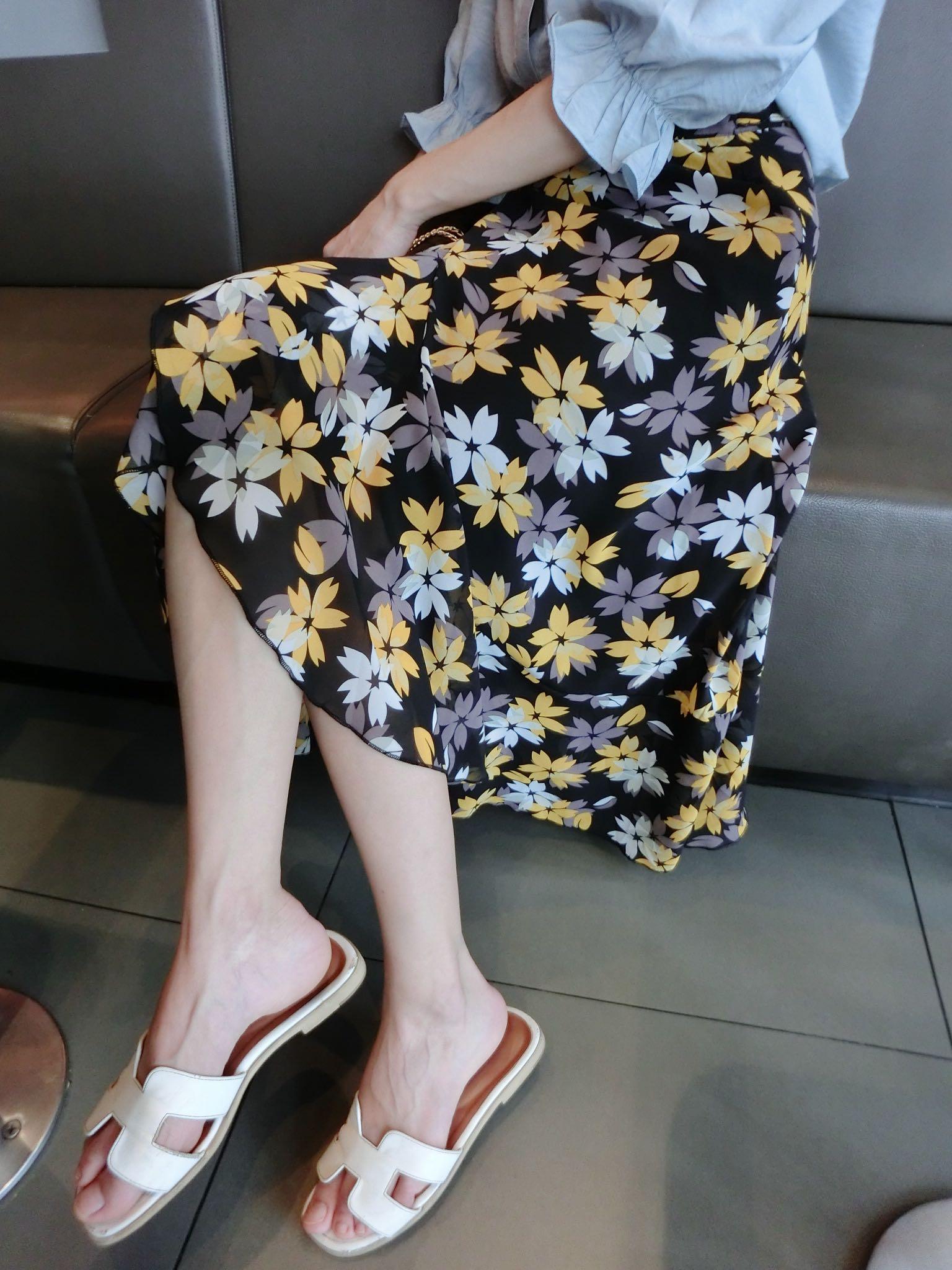 粉红色半身裙 4.22【MAOMAO定制】韩国东大门绑带式碎花裙气质优雅不规则半身裙_推荐淘宝好看的粉红色半身裙
