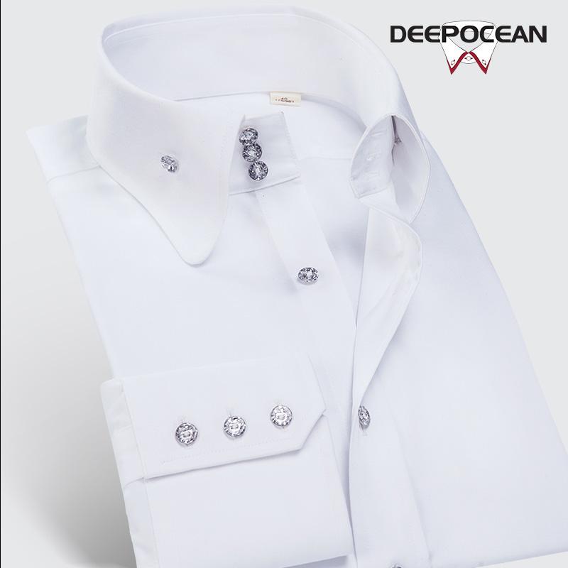 男士修身衬衫 纯棉高领衬衫男长袖修身白色大领衬衣男士寸韩版帅气潮流商务休闲_推荐淘宝好看的男修身衬衫