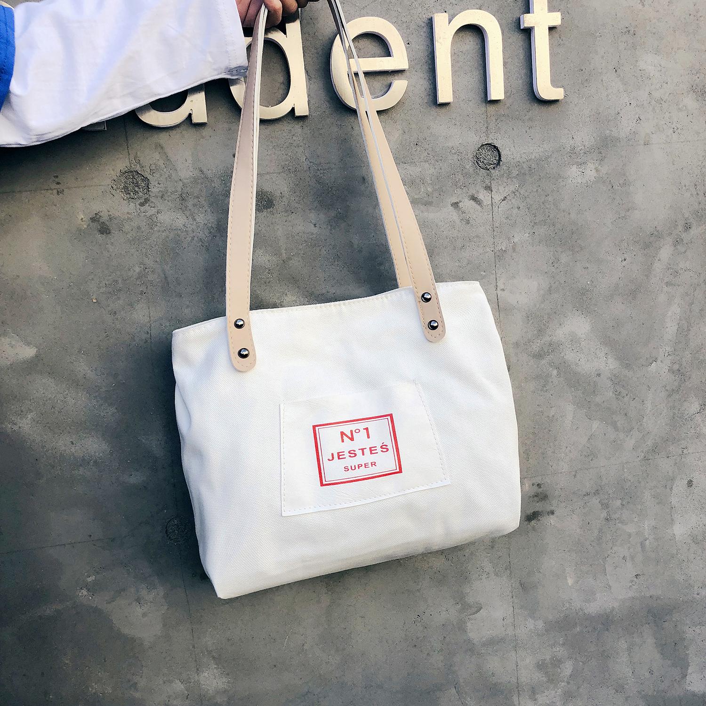 帆布包 网红同款超火帆布包购物袋学生手提包单肩大包韩版包包女2019新款_推荐淘宝好看的女帆布包