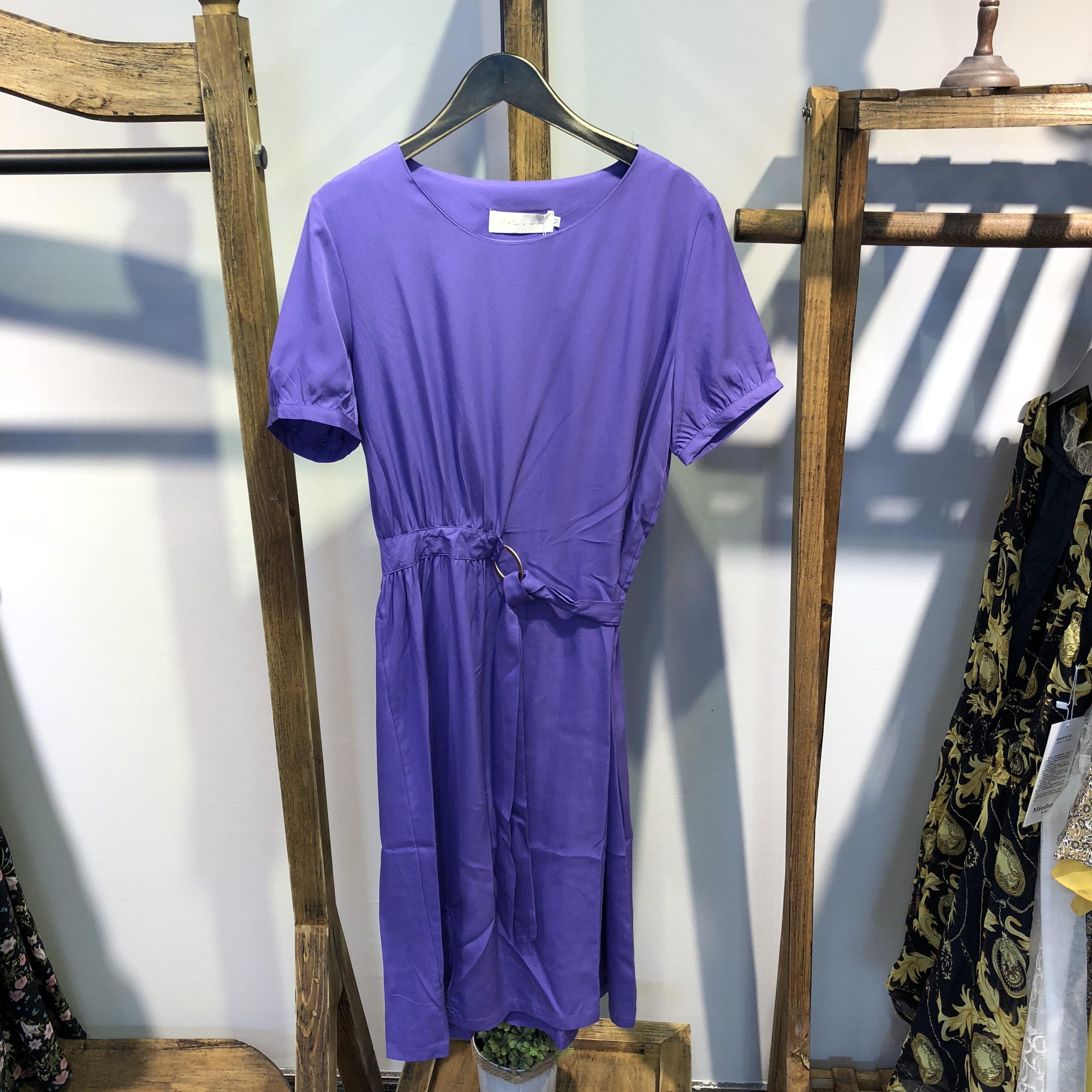 黄色连衣裙 【逸路花语】18夏新天丝腰带圆环设计圆领短袖连衣裙 GZ18-1836_推荐淘宝好看的黄色连衣裙