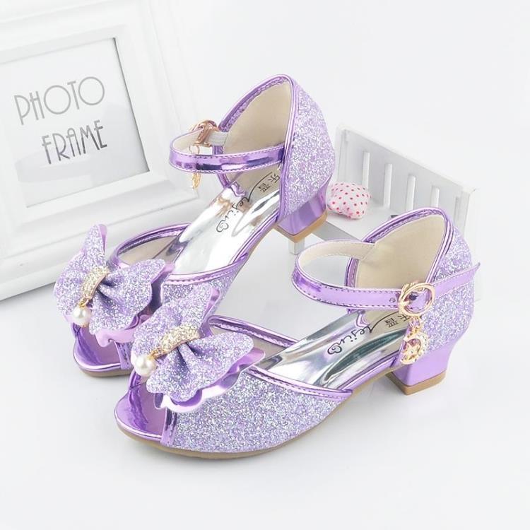 紫色鱼嘴鞋 女童凉鞋2017新款韩版夏季公主高跟鞋儿童鱼嘴露趾鞋女孩紫色凉鞋_推荐淘宝好看的紫色鱼嘴鞋