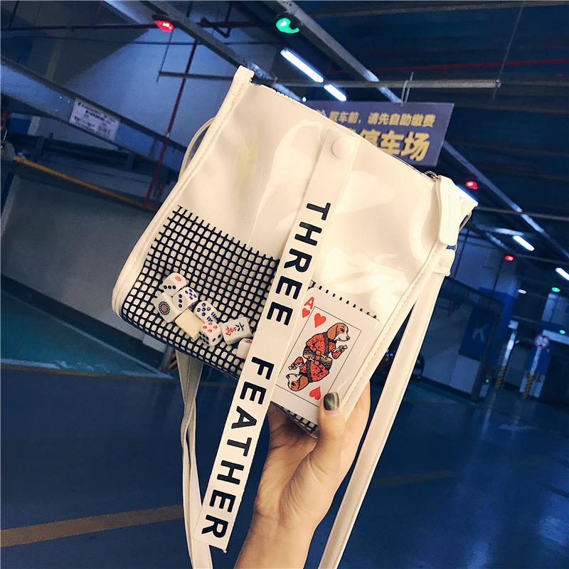 白色斜挎包 夏天小包包女2018新款韩国原宿透明果冻水桶包个性少女斜挎单肩包_推荐淘宝好看的白色斜挎包