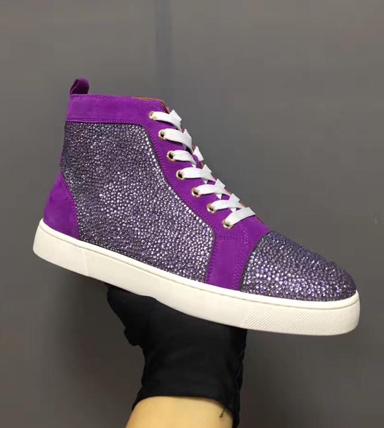 紫色高帮鞋 CL DC villain高端女鞋男鞋高帮鞋紫色水钻系带休闲情侣鞋红底鞋_推荐淘宝好看的紫色高帮鞋