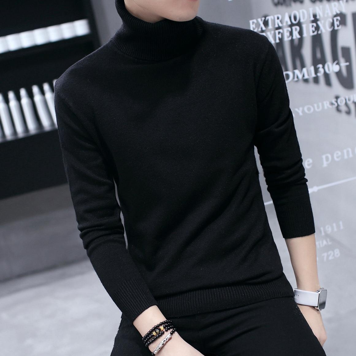 男士高领毛衣 冬季新款男士高领毛衣韩版修身加绒保暖线衣纯色加厚针织打底衫潮_推荐淘宝好看的男高领毛衣
