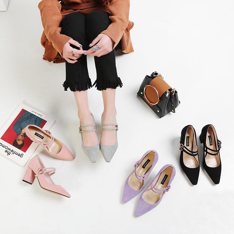 紫色高跟鞋 韩版复古尖头浅口粗高跟真皮单鞋女早春一字扣紫色气质百搭瓢鞋OL_推荐淘宝好看的紫色高跟鞋
