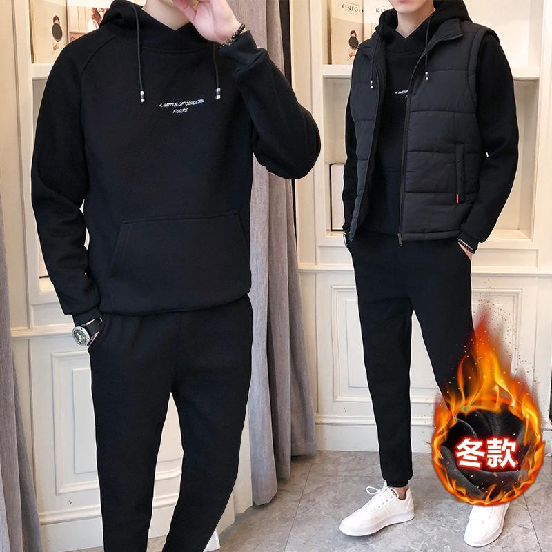 男士卫衣三件套 卫衣套装男士秋冬季2018新款潮流加绒加厚运动服休闲外套两三件套_推荐淘宝好看的男卫衣三件套