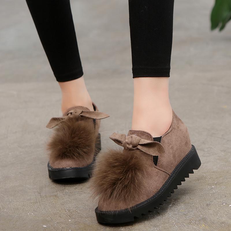 女士坡跟鞋 毛毛鞋女韩版蝴蝶结百搭内增高低帮保暖加绒豆豆鞋厚底坡跟乐福鞋_推荐淘宝好看的女坡跟鞋